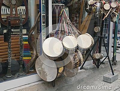 Souvenir drums in Istanbul shop