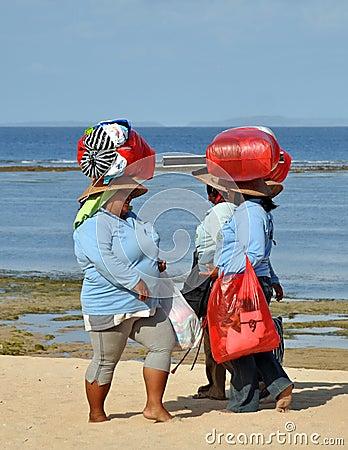 Souvenir Sellers Head Home, Bali Indonesia Editorial Stock Photo