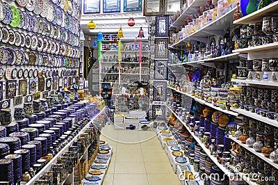 Souvenir shop in arab market.