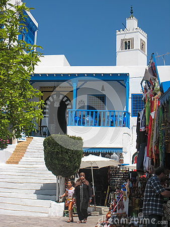 Souvenir shop and Cafe des Nattes. Sidi Bou Said. Tunisia Editorial Stock Photo