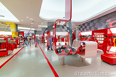 Souvenir shop in Ferrari World Editorial Photography