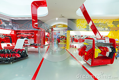 Souvenir shop in Ferrari World Editorial Image