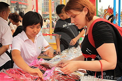 Souvenir shop in Wangfujing street in Beijing Editorial Image