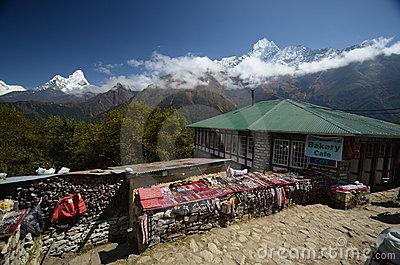 Souvenir stands in the Himalayas Editorial Stock Photo