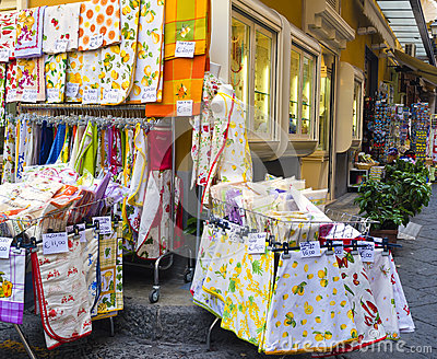 Souvenir Textiles, Sorrento Italy Editorial Stock Photo