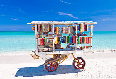 Souvenirs cart at Varadero beach in Cuba