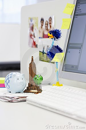 Souvenirs On Computer Desk