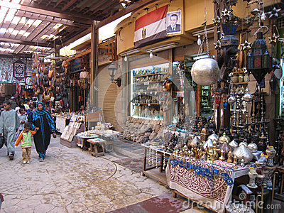 Souvenirs shops at the Souk. Egypt Editorial Photography