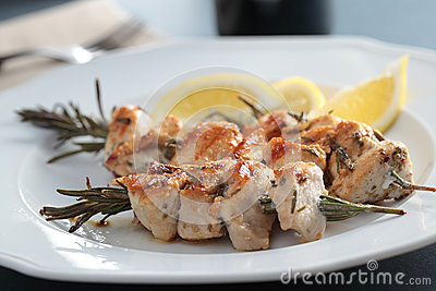 Souvlaki on rosemary sticks