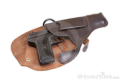 Soviet handgun TT in a holster