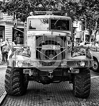 Soviet heavy truck KrAZ-255 (Black and White) Editorial Stock Photo