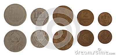 Soviet Kopek Coins Isolated on White