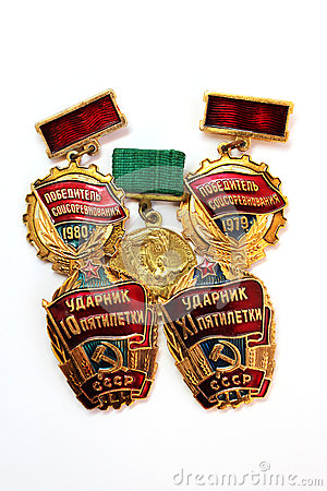 The Soviet medals for valorous work