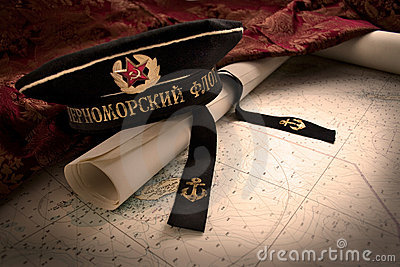Soviet Naval Hat and Map