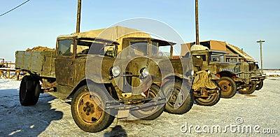 Soviet old military cargo cars