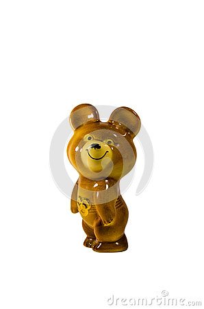 Free Soviet Olympic Bear Statuette Isolated On White Background Royalty Free Stock Photos - 82700128