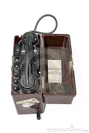 Soviet portable telephone set on white