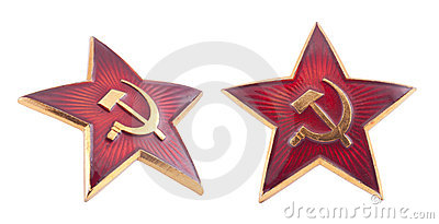 Soviet red star badge with clipping path