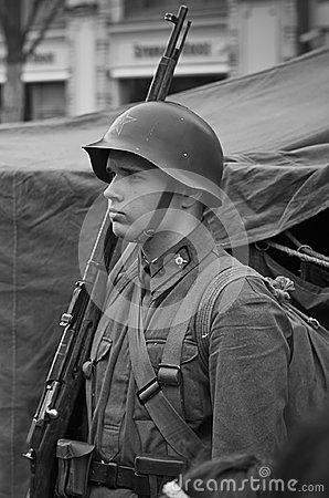 Free Soviet Soldier - Reconstruction. Stock Photography - 98347542