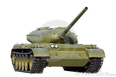 Soviet tank isolated over white