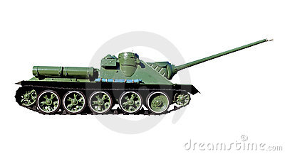 Soviet tank isolated on a white background