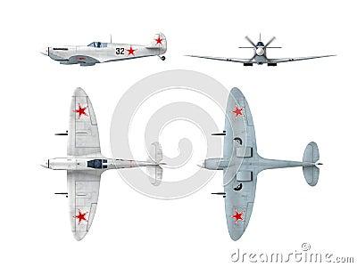 Soviet winter version of English Spitfire fighter