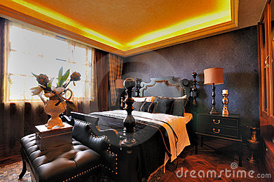 Sovrum dekorerad presenterad interior