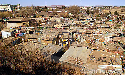 Soweto shanty town, expansive view. Editorial Image