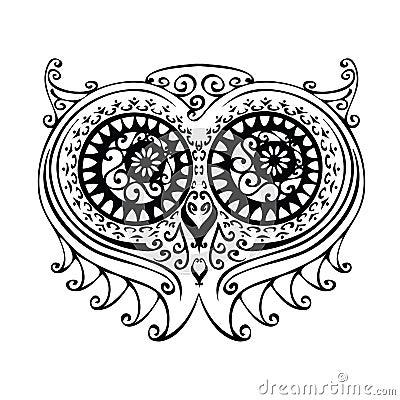 Sowy dekoracyjna ilustracja