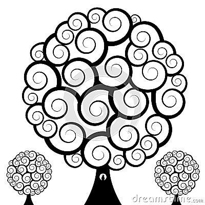 Sowy zawijasa drzewo