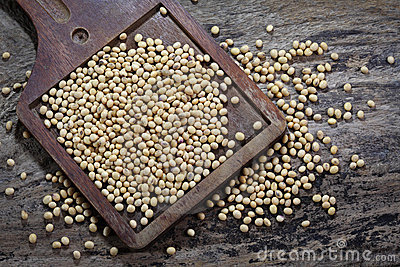 Soy beans on wood