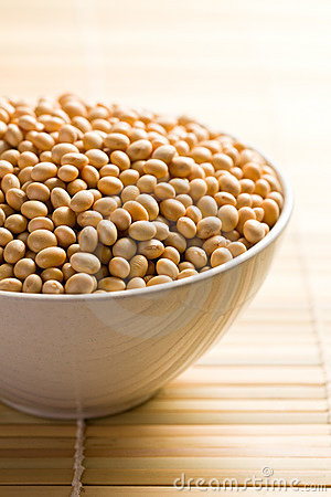 Soya beans in ceramic bowl