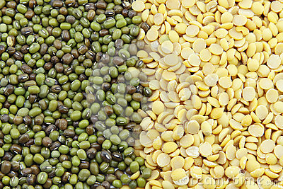 Soybeans, split in half and Mung beans