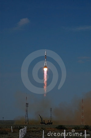 Soyuz Spacecraft Launch From Baikonur Cosmodrome Editorial Photography
