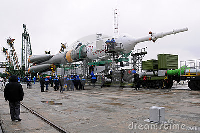 Soyuz Spacecraft at Launch Pad Editorial Stock Image
