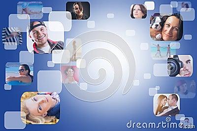 Soziales Netz mit Gesichtern