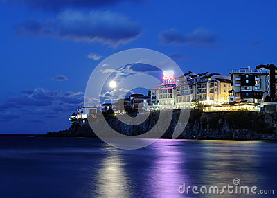 Sozopol new town by night Editorial Image