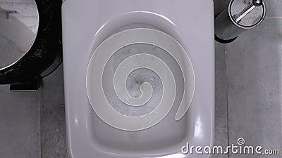 Spülwasser in öffentlichen Toiletten Kabine mit Toilettenschüssel, Mülleimer und Brush stock footage