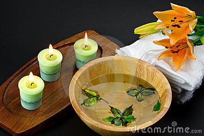 Spa accessories with lily flower