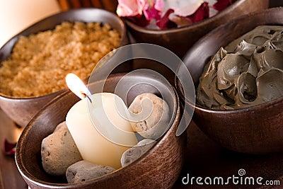 Spa accessories: scented stones, mud, body scrub