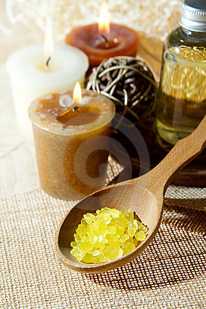 Spa aroma salt in spoon, aroma candles