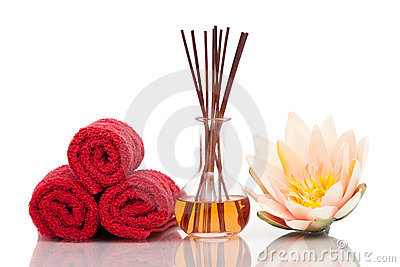 Spa and aromatherapy items with lotus flower