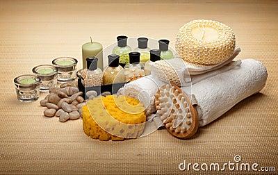 Spa - bath salt and massage tools