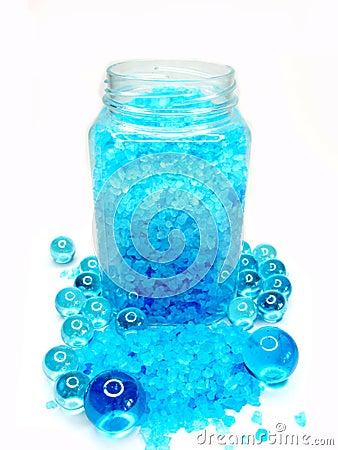 Spa bathing salt among aroma oil capsules
