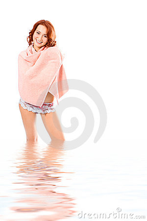 Spa beauty girl in towel