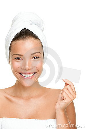 Spa beauty woman showing business card