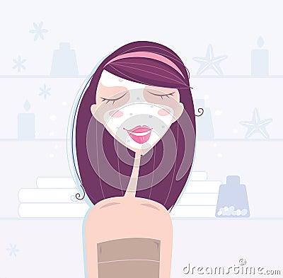 Spa & beauty: woman taking skin care