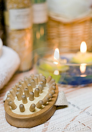 Spa brush and candles