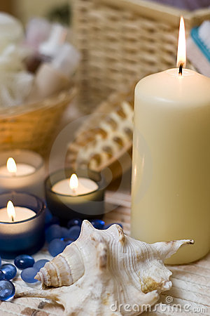 Free Spa Candles And Shell Stock Image - 4024261