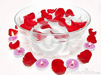 Spa candles rose flowers